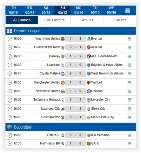 Sports Data XML Feed & API, Livescores, Standing, Fixtures